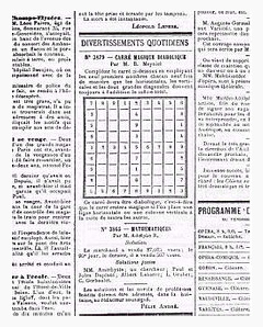 The history of sudoku. Printed sudoku in La France magazine, 1895