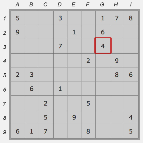 Cell g:3 of sudoku field