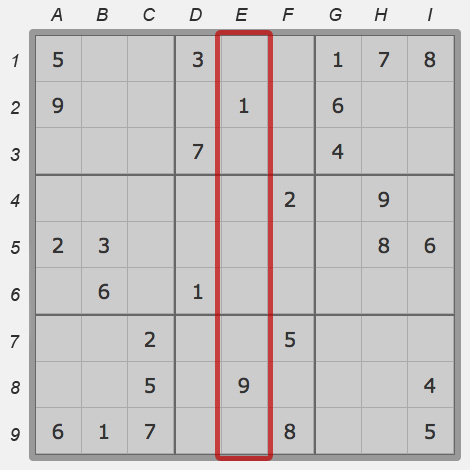 Column of sudoku field