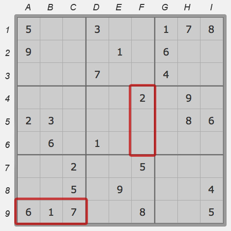 Segments of sudoku field