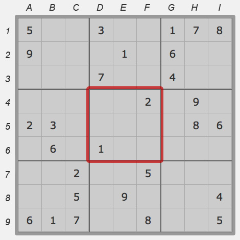 Square of sudoku field